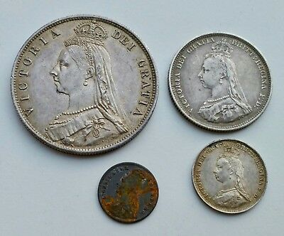 Great Britain Queen Victoria 1887 Lot of 4 Coins - Mostly Silver, Free Shipping