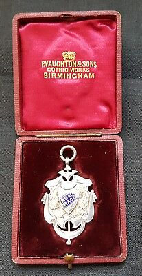 Early Cycling Victorian 1896 Silver Enamel & Gold Fob Medal 15 Miles Road Race