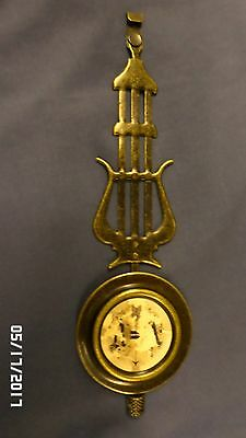 "2204M Ornate Metal Clock Pendulum 8.75"" Antq Brass Finish Musical Theme Harp??"