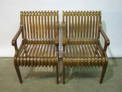 "*PAIR* Contemporary Style Maple Slatted Hardwood Armchairs"" High End"