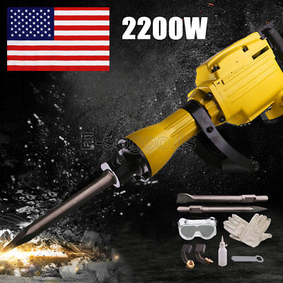2200 Watt Electric Demolition Hammer Machine Tool chisel Set Industrial Grade