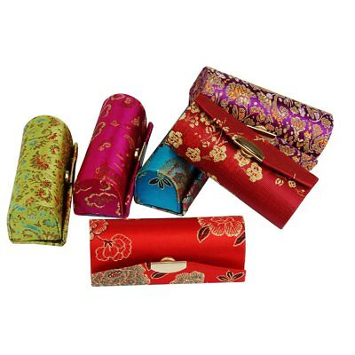 Women Lady Flower Brocade Retro Lipstick Case Embroidered Holder Box with Mirror