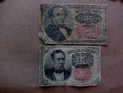 10 and 25 CENT FRACTIONAL CURRENCY - TWO  NOTES
