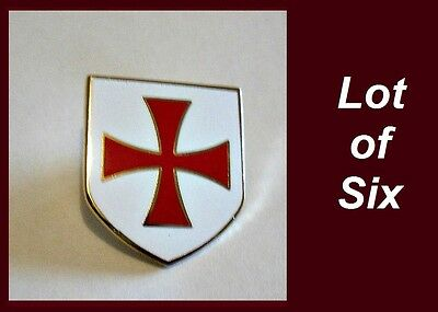 LOT 6 Crusader Knights Templar Cross Shield Masonic Freemason Lapel Pin hat
