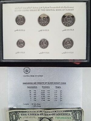 RARE KUWAIT (6) Coin DCam AH1407 1987 Proof Set 925 Sterling Silver LOW OPEN BID