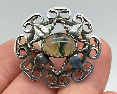 Rare Antique Arts & Crafts -Gladys & Charles Mumford -Falmouth Moss Agate Brooch