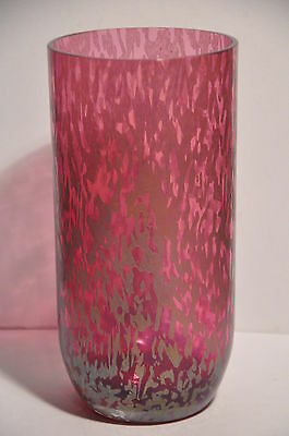 "Royal Brierley Pink Iridescent Studio Range 8.75"" Art Glass Vase Unsigned"