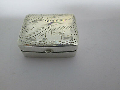 Sterling Silver  Snuff Box  / Pill Box   Carved