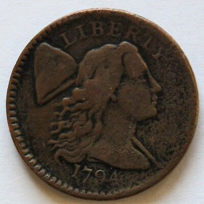 1794 LIBERTY CAP LARGE CENT,  S-65, R1, VG-F,  Combined Shipping