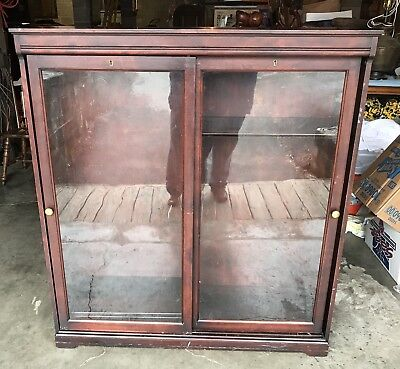 Beautiful Turn Of Century Solid Mahogany Two Door Six Shelves Bookcase Cabinet