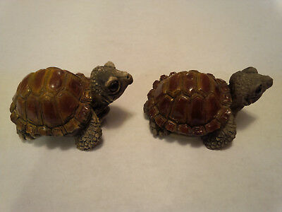 Pair of Stone Critter Littles Turtle Figurines SCL-024 Lot#30