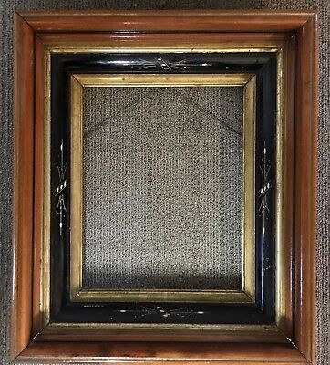 Antique EASTLAKE  Aesthetic Victorian Deep  Carved Walnut Ebonized Picture Frame
