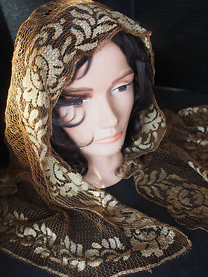 "Antique Flapper Hand Made Net Veil Shawl Scarf~Assuit Type~Brown Bronzed 50"" x24"