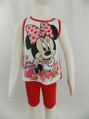 Disney Minnie Mouse Toddler 4T 2 piece Sheer Rose Red Top and Shorts Set Cute