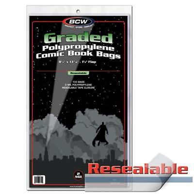 100 Bcw Resealable Graded Comic Book Slab 2 Mil Clear Acid Free Poly Bags