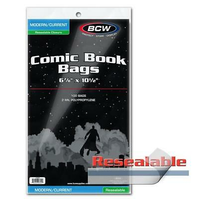 "200 BCW CURRENT MODERN AGE COMIC RESEALABLE BAGS POLY 6 7/8"" x 10 1/2"""