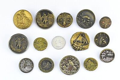 Lot of 14 Antique Victorian Picture Buttons Metal Brass Steel