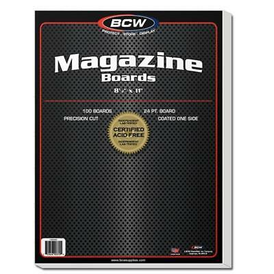 100 Bcw Resealable Magazine 2 Mil Archival Poly Bags + 100  Backer Boards