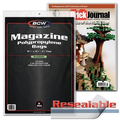 100 Bcw Resealable Magazine Acid Free Archival 2Mil Poly Bag Covers