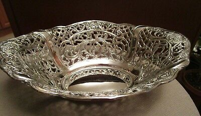 Vintage Large Silver Plated Reticulated Pierced Fruit Bowl