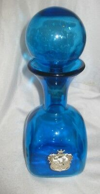 Vintage Retro Blue Glass Decanter with Coat of Arms