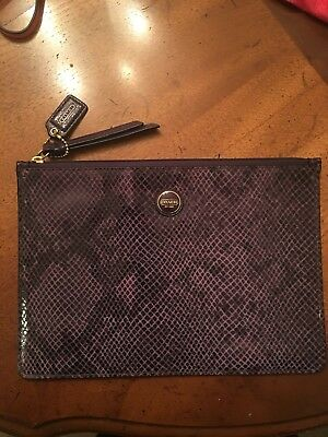 GUC Coach Snake Embossed Large Zippered Clutch Pouch Sleeve