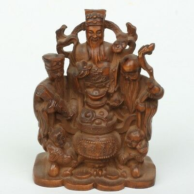 Chinese Exquisite Boxwood Hand carved Three gods statue
