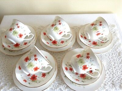 Beautiful Vintage Mismatch Royal Vale Tea Set In a Pretty Poppy Design