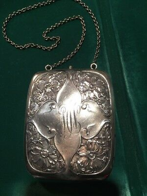 Antique Sterling Unger Bros. Purse Double Sided Floral Chain Handle