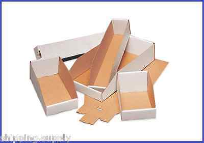 50 Pack - White Corrugated Open Top Storage Bin Boxes - 21 Sizes Available