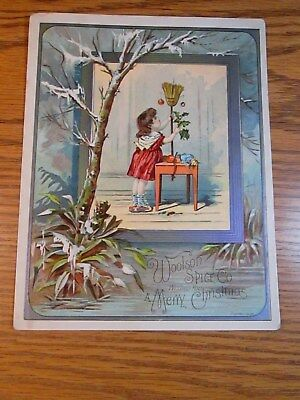 "victorian trade cards,"" Lion Coffee "" Woolson Spice-- Broom Stick for Christmas"