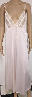 Vintage Movie Star Pink Sheer Nylon Deep Plunge Long Flowing Lacy Nightgown L