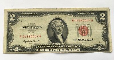 1953 A $2 United States Note Two Dollar Bill With Red Seal Free Shipping