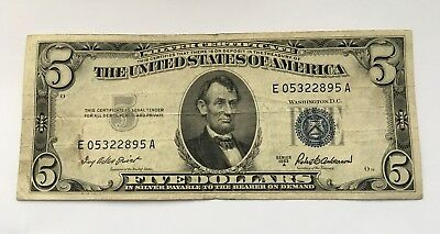 1953 A $5 United States Note Five Dollar Bill With Blue Seal Free Shipping