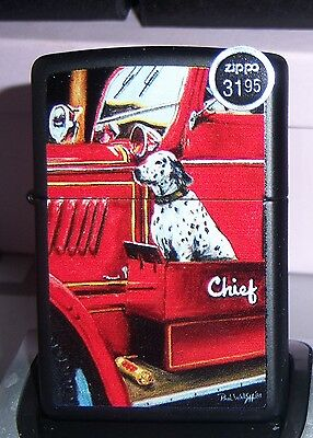 Zippo Limited Ed Firefireghters With Dog Chrome Lighter Mint