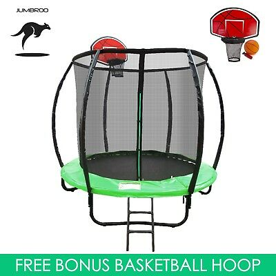 6ft Fiberglass Round Trampoline Kids Safe Enclosure Net Basketball Hoop Ladder