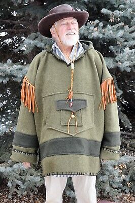 Wool Blanket Capote Style Shirt w/ Hood, 2XL, Green, Hunting, Muzzeloaders