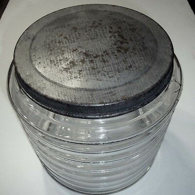"""Large """"Sellers""""  Ribbed Glass Jar W/Lid"""