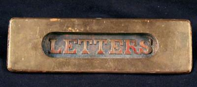 Vintage Antique Heavy Solid Brass Spring-Loaded ' LETTERS ' Mail Slot