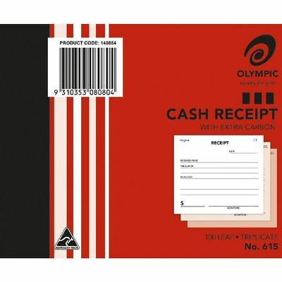 Cash Receipt Book Triplicate - Olympic 615  - 5 x 4 100 Leaf