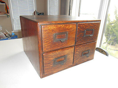 Antique Tiger Oak Library Bureau  File Index Card Catalog 4 Drawer Brass Pulls