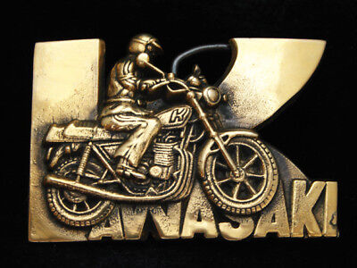 OE01169 *NOS* VINTAGE 1970s **KAWASAKI** MOTORCYCLE SOLID BRASS BARON BUCKLE