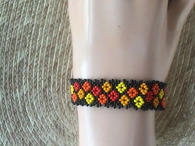 Unique Mexican huichol Bracelet Art Beaded Adjustable Jewelry Hand Made B-029
