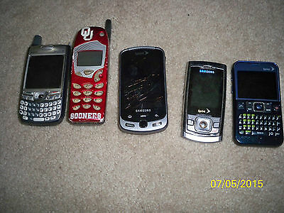 Lot of 5 sprint untested parts or repair Old Cell phone