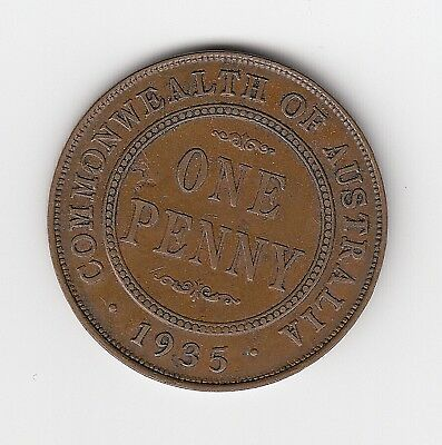 1935 Kgv Australia Penny - 6 Clear Pearls (Hint Of 7 & 8) - Great Vintage Coin