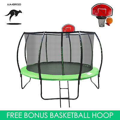 10ft Fiberglass Round Trampoline Kids Safe Enclosure Net Basketball Hoop Ladder