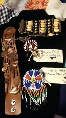 Native American Beaded Pins/2 Leather Bracelets 1 Copper Charms. 1  Beaded