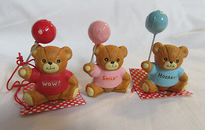 Lucy & Me ~ Party Bears WOW SMILE HOORAY Balloons ~ Porcelain Figurine