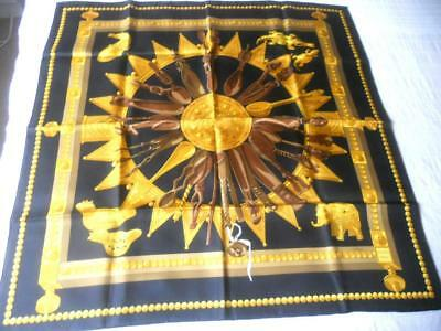 Authentic Hermes France Pure Silk Scarf Square Cuillers Dafrique 90 X 89 Cms