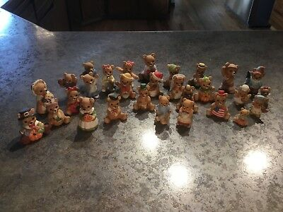 Lot of 29 Homco Porcelain Bear Figurines. Very Good Condition!